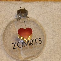 I love Zombies Christmas Ornament