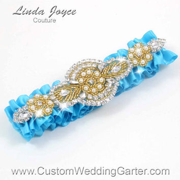 Turquoise and Gold Vintage Wedding Garter Rhinestone 340 Turquoise Blue Custom Luxury Prom Garter Plus Size & Queen Size Available