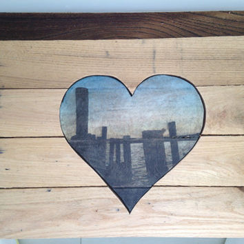 Custom made photo heart in reclaimed wood, wall hanging, Your photo on wooden heart, wedding gift, anniversary gift ideas, unique gift