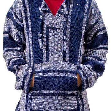 Unisex Blue & Grey Mexican Poncho - Baja Hoodie Jacket Sweater - Joe