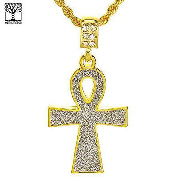 "Jewelry Kay style Men's Iced Out Fashion Glitter Ankh Gross Pendant & 22"" Rope Chain Set NA 5195 G"