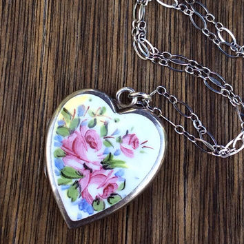 Large Vintage Bliss Brothers Sterling Silver Enamel Roses Heart Locket Necklace