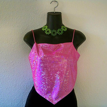 M / L 90's IRIDESCENT BABY PINK Club Kid Hologram Crop Top Tank Medium Large Vintage