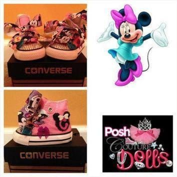 DCCK8NT minnie inspired bling converse