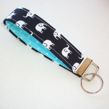Key FOB / KeyChain / Wristlet - soft dark navy Black with White Elephants with white pin dots on aqua - coworker gift mothers day under 10