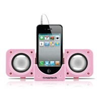 Naztech N20-11913 Portable Speaker for iPhone 4S/BlackBerry/HTC/Samsung/Motorola - Retail Packaging - Pink