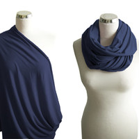 Navy Nursing Sarf, Nursing Cover, Nursing Infinity Scarf, Dark Blue Breastfeeding Cover