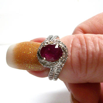 "Ruby ring, genuine ruby, ruby accent ring, engagement ring, anniversary ring, red,  s 7    ""Red Delicious"""