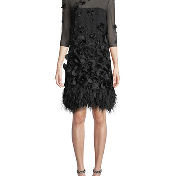 Andrew Gn Sleeveless Organza Dress with Floral Appliques & Feather Trim