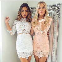 Fashion half sleeve lace collar cultivate one's morality dress