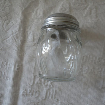 Ribbed Clear Glass Spice Jar Shaker Aluminum Screw Top Made By Medco USA Vintage Glassware