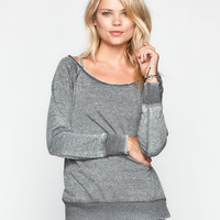 Full Tilt Womens Off Shoulder Top Charcoal  In Sizes