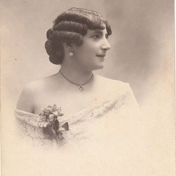 French vintage Real Photo Postcard . Woman portrait..