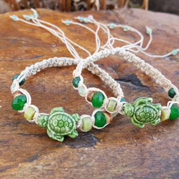 Hemp Bracelet Set, Adjustable, Sea Turtle Bracelets, Ceramic Turtles, Gift, Friendship Bracelets, Turtle Hemp Bracelet, Hemp Jewelry, Turtle