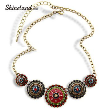 Collares Fashion 2018 Hot Sale Women Bohemia Style Enamel Beads Flowers Choker Chains Statement Necklace Ethnic Vintage Jewelry