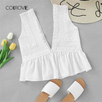 COLROVIE Plunging V-neckline Lace Trim Frill Hem Top New White Contrast Lace Ruffle Hem Women Top Deep V Neck Crop Vest