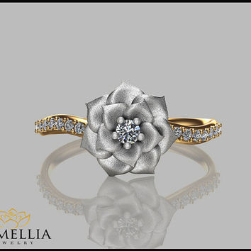 Camellia Flower Ring 14K Two Tone Gold Diamond Ring,Engagement ring,Floral Ring,Bridal Ring,Floral Jewelry,Unique Flower Ring,Diamond Ring.