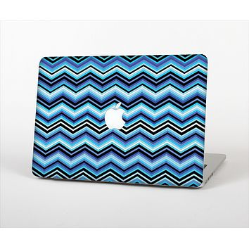 The Thin Striped Blue Layered Chevron Pattern Skin Set for the Apple MacBook Pro 15""