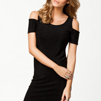 Black Cut Out-Shoulder Short Sleeve Dress