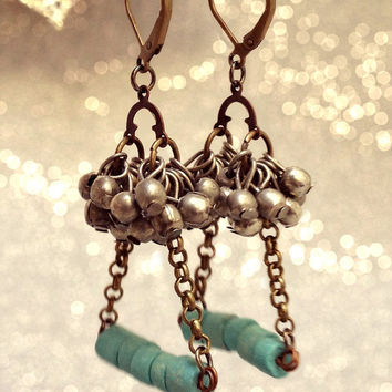 Turquoise Swing Earrings. Handmade Jewelry. Multiple Small Silver Balls Dangles. Andean Ceramic Beads with Brass Chain. Vintage Boho Style.