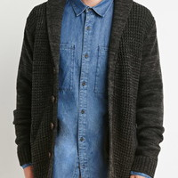Ribbed Knit Shawl Cardigan