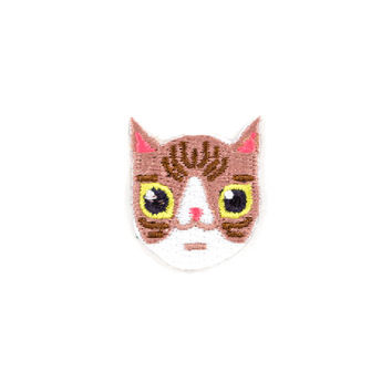 Brown & White Cat Mini Sticker Patch