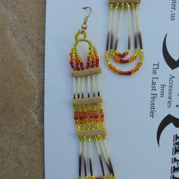 Porcupine Quill Earrings in Sunburst/Sunset Colors