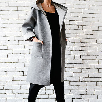 Grey Maxi Coat/Loose Hooded Jacket/Oversize Warm Coat/Grey Neoprene Coat/Comfortable Winter Coat/Plus Size Jacket/Large Hood Maxi Coat