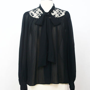 Japanese Vintage Blouse Shirt M// 90s Blouse Shirt// Black Ascot Lace Blouse// Japan