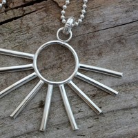 Handmade sterling silver sun necklace, half sun, celestial jewelry, stick or spike pendant