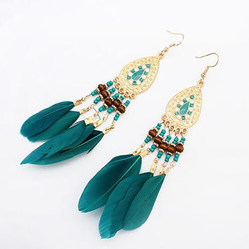 Bohemian Ethnic Vintage Feather Earrings