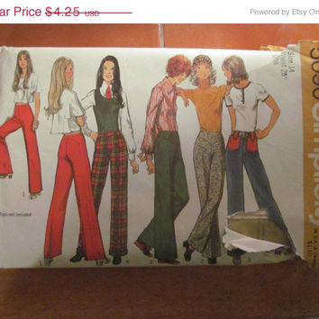 "Sale 1972 Simplicity Sewing Pattern, 5090! Size 14, Waist 28"", Misses, Women's, Juniors, Teens, Flare bottom pants, Pants, Jeans."