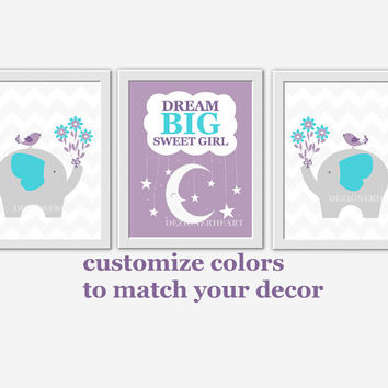 Baby Girl Nursery Wall Art Purple Teal Lavender Elephant Dream Big Girl Room Wall Decor Nursery Elephant Decor Baby Girl Wall Decor Prints
