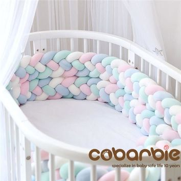 220cm Heightening Baby Braided Crib Bumpers 4 Strip Knot Long Pillow Cushion,Nursery bedding,cot room dector