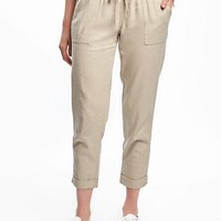 Mid-Rise Linen-Blend Cropped Pants for Women | Old Navy