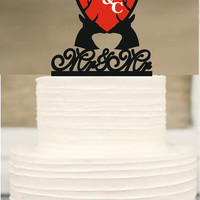 Same Sex Cake Topper,Rustic Wedding Cake Topper,Mr and Mr Cake Topper,Gay Cake Topper,Deer Antlers Cake Topper,Rustic Wedding cake topper
