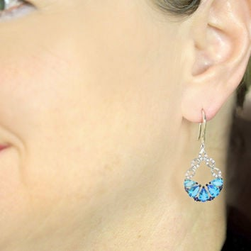 Sterling Silver CZ Dangle Earrings Blue and White Stones