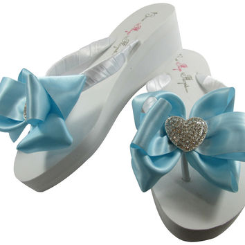 Something Blue Wedding Heart Flip Flops on Ivory or White Wedges