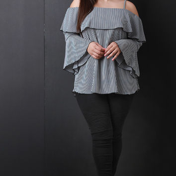 Plus Size Striped Flutter Trumpet Sleeve Top | UrbanOG