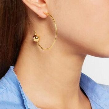 Fashion Punk Metal Ball Big Hoop Earrings Women