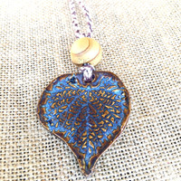 Handmade Leaf Necklace in Blue and Brown, Hand Crafted Necklace, One of Kind Necklace, Ceramic Necklace, Boho Necklace, Blue Necklace