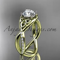 """14kt yellow gold celtic trinity knot engagement ring, wedding ring with a """"Forever Brilliant"""" Moissanite center stone CT790"""