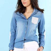 Lace Pocket Denim Shirt