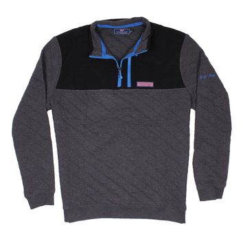 Custom Quilted 1/4 Zip Shep Shirt in Charcoal Heather by Vineyard Vines - FINAL SALE