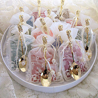 12 Assorted Tea Bag (Teaspoon) and Demi Spoon Favors in Embroidered Ivory Favor Bags