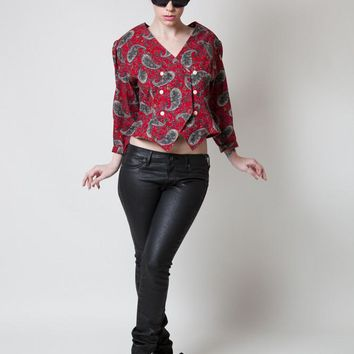 Vintage Petite Lanz Red Paisley Double-breasted Top
