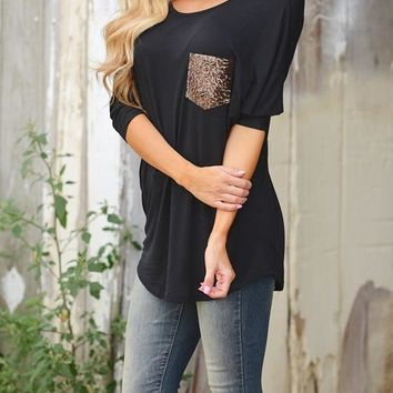 Black Patchwork Sequin Pockets Round Neck Dolman Sleeve Casual T-Shirt