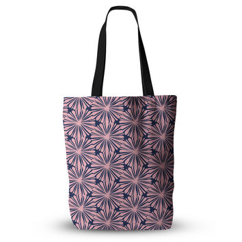 "Amy Reber ""Pink Daisy"" Blue Pattern Everything Tote Bag"