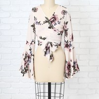 Floral Tie Front Bell Sleeve Blouse