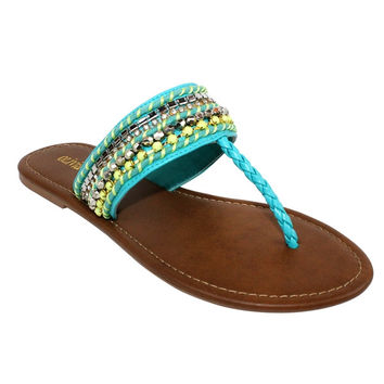 TURQUOISE BEADED SANDALS